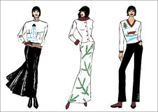 Fashion illustration. On white background for winter royalty free illustration