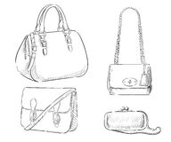 Fashion illustration. Bags Hand Drawn Purses women's accessories handbags Royalty Free Stock Image