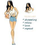 Fashion illustration of beautiful brunette Royalty Free Stock Photo
