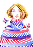Fashion illustration, beautiful girl in striped warm clothing and butterflies. Hand painted watercolor, Fashion illustration, beautiful girl in striped warm Royalty Free Stock Photos