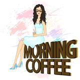 Fashion Illustration. Beautiful young woman with a cup of coffee. vector illustration