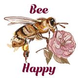Fashion illustration with bee, be happy concept royalty free stock photos