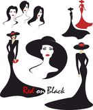 Fashion Illustration in black and red Royalty Free Stock Images