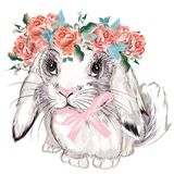 Fashion illustration with bunny girl and roses vector illustration