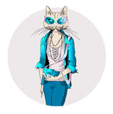 Fashion illustration of cat girl dressed up in Stock Photography