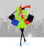 Stylish Woman Shopping on a Snowy Day Royalty Free Stock Images