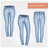 Fashion illustration. Classic women jeans light blue vector no texture back front. Five pockets skinny woman jeans. Super stretch blue denim leggings Royalty Free Stock Photography