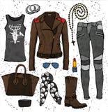 Fashion illustration. Clothing set. Biker style outfit Stock Image