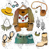Fashion illustration clothing set. Boho chic style Stock Image