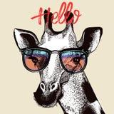 Fashion illustration with cute giraffe royalty free illustration
