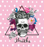 Fashion illustration depicting skull with the rose in his teeth. Hipster. Trending floral background. Could be used for Royalty Free Stock Photography