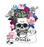 Fashion illustration depicting skull with the rose in his teeth. Trending floral background. Could be used for T-shirt. Fashion illustration depicting skull Royalty Free Stock Images