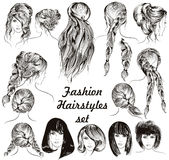 Fashion illustration different female hairstyles set in engraved. Style Royalty Free Stock Image