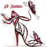 Fashion illustration with elegant female sandals with high heel Stock Image