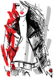 Rock girl sketch. Fashion illustration featuring a sexy woman wearing a rock outfit Stock Photography
