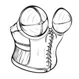 Fashion illustration of a female retro corset. Made in thumbnail style on a white background Stock Photo