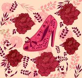 Fashion illustration with female shoes. And roses Stock Photo