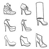 Fashion illustration of footwear Stock Photography