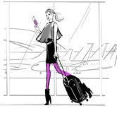 Fashion illustration of a girl in the airport. With baggage stock illustration