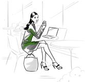 Fashion illustration of a girl in a cafe. With notebook vector illustration