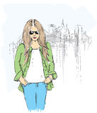 Fashion illustration girl Stock Photos