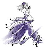 Fashion illustration of a girl walkig in a long dress. Fashion illustration of a girl walkig in a long fluttering dress vector illustration