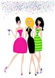 Stylish Girlfriends Out Celebrating. Fashion illustration of girlfriends with cocktails at a celebration Royalty Free Stock Photography