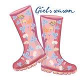 Fashion illustration with girlish vector pink rubber boots for design. Fashion illustration with girlish vector  pink rubber boots for design vector illustration
