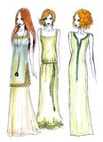 Fashion illustration girls Stock Images
