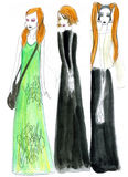 Fashion illustration girls Royalty Free Stock Photos
