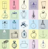 Fashion illustration. Hand drawn picture. The bottles of perfume. Fashion illustration. Set of sketch female things - perfume bottles, powder, nail polish. Hand stock illustration