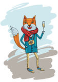Fashion Illustration of Hipster Fox with Camera Royalty Free Stock Photos