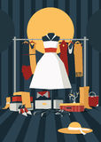Fashion  illustration with interior full of mess of bags, shoe boxes, shoes, accessories and dresses. Hanger with dresses on Royalty Free Stock Photo