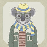 Fashion illustration of koala Royalty Free Stock Photos