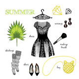 Fashion illustration outfit Royalty Free Stock Image