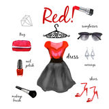 Fashion illustration outfit Stock Images