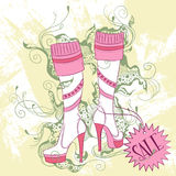 Fashion illustration of a pair of women's high boots Royalty Free Stock Images