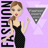 Fashion illustration with place for your text. Vector girl.Sketc Royalty Free Stock Image