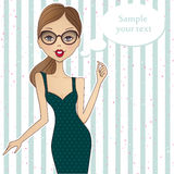 Fashion illustration with place for your text. Vector girl.Sketc Royalty Free Stock Photos