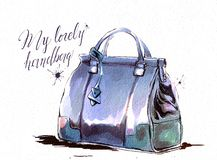 Fashion illustration with purse, female blue purple handbag. Watercolor raster hand drawing with texture stock illustration