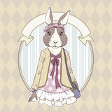 Fashion illustration of rabbit Stock Image