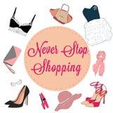 Fashion illustration of shopping card Stock Photography