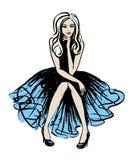 Fashion illustration of sitting woman Stock Images