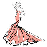 Fashion Illustration - Sketch - Elegant lady Royalty Free Stock Image