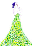 Fashion illustration, sophisticated woman in green eco dress. Hand painted watercolor Royalty Free Stock Photos