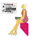 Fashion illustration. Stylish fashion models. Fashion girl. Sketch. A girl in a dress and fashionable quote Royalty Free Stock Photos