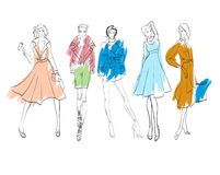 Fashion illustration. Stylish fashion models. Fashion girls set. Sketch. Girls in a dress, coat and suit Stock Photo