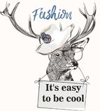 Fashion illustration with stylish trendy deer in glasses and hat Royalty Free Stock Image