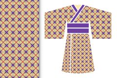 Fashion illustration. Stylized ethnic Japanese kimono. Fashion art collection, colorful illustration. Stylized Japanese kimono ethnic clothes and decorative Royalty Free Stock Photos