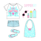 Fashion Illustration. Summer outfit. Woman modern clothing flat lay set. Stock Photography
